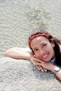Thai girl portrait wooman of happy tourist travel in vacation Royalty Free Stock Photo