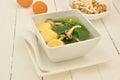 Thai gord soup on white dish Stock Images