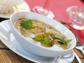 Thai green curry a bowl of chicken in restaurant Royalty Free Stock Photo