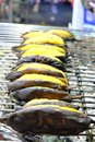 Thai Grilled bananas on the grill.