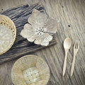 Thai handicraft on wooden plate Stock Photography