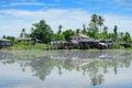 Thai home at riverside of chaopraya river landscape Stock Photos