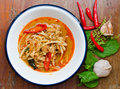 Thai hot and spicy curry with chicken bamboo shoot on table Royalty Free Stock Photo