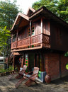 Thai house building architecture & patio Royalty Free Stock Photos