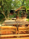 Thai house and the wooden table set in Thai style resort