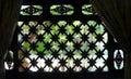 Thai house window, garden view Royalty Free Stock Photo