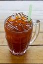 Thai Ice Tea with green straw Royalty Free Stock Photo