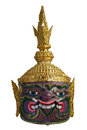 Thai Khon head mask in Puple Giant Face, called Maiyarap, The giant king of the underworld. Royalty Free Stock Photo