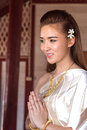 Image : Thai lady in vintage original thailand attire  neck