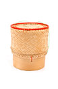 Thai lao original handwoven bamboo sticky rice isolated container serving basket Royalty Free Stock Photo