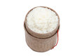 Thai laos bamboo sticky rice container on white blackground Stock Image