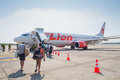 Thai lion air plane landed at suratthani airport thailand march on march in thailand it is the low cost Stock Image
