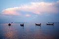 Thai long tail boats floating in the sea thailand Royalty Free Stock Photography