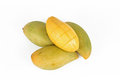 Thai Mangoes on white background Stock Photos