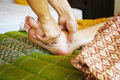 Thai massage reflexology concept in hotel Stock Photos