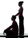 Thai massage silhouette Royalty Free Stock Photo