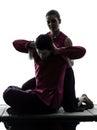 Thai massage silhouette Royalty Free Stock Photo