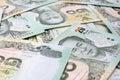 Thai money baht thai bank note background Stock Photo