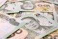 Thai money baht thai bank note background Stock Image