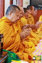 Thai monks blessed Royalty Free Stock Photography