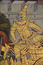 Thai mural painting and gilding bangkok thailand jan ancient with tempera colors of ramayana story in wat phra sri Royalty Free Stock Image