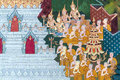 Thai mural painting on the wall wat pho bangkok thailand generality in art decorated in buddhist church etc no restrict Royalty Free Stock Photo