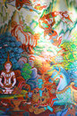 Thai mural paintings wall in temple Stock Photos