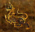 Thai mythology lion Sigha painting on the wall Royalty Free Stock Photos