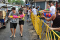 Thai new year songkran revellers celebrate the on khao san road on april in bangkok thailand the or is celebrated Royalty Free Stock Image