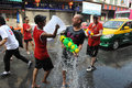 Thai new year songkran revellers celebrate the near khao san road on april in bangkok thailand the or is celebrated Stock Photography