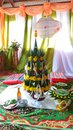 Thai northeast region wedding scene traditional esarn or isaan style the green one in center is baisri made from babana leaf Royalty Free Stock Images
