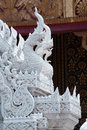 Thai ornaments white naga sculpture from stucco Stock Photos