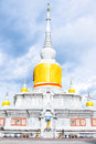 Thai pagoda called nadun pagoda on cloudy day in thailand northeast Stock Photo