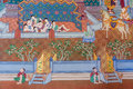 Thai painting in buddhist temple about buddhist era used for edication no copyright Royalty Free Stock Photography