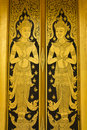 Thai painting color gold door , Royalty Free Stock Photos