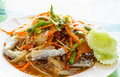 Thai Papaya salad with fresh horse crab Royalty Free Stock Image