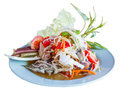 Thai papaya spicy salad or som tum with blue crab isolate Stock Image