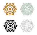 Thai pattern flower beautiful vector set of art on white background Royalty Free Stock Image
