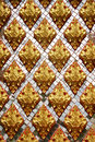 Thai pattern inside temple flower patter on white glass background Royalty Free Stock Photos