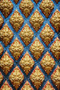 Thai pattern inside temple giant patter on blue glass background Stock Photos