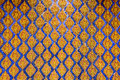 Thai pattern wall of thai temple inside Royalty Free Stock Image