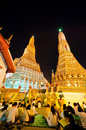 Thai people and monk join moral pray countdown in  Wat Arun temp Royalty Free Stock Images