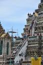 Thai people travel at wat arun temple and walking to upstair of prang ratchawararam ratchawaramahawihan or is a buddhist location Royalty Free Stock Images