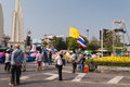 The thai protest against the government at democracy monument on ratchadamnoen road on dec in bangkok thailand Stock Photo