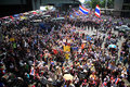 Thai protester anti government rally bangkok thailand march unidentified protesters hold an and gather together at street near Stock Photography