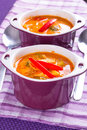 Thai red curry soup with chicken breast Royalty Free Stock Image