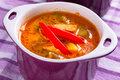 Thai red curry soup with chicken breast Stock Photos