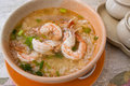 Thai rice soup with shrimp Stock Photo