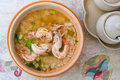 Thai rice soup with shrimp Stock Images