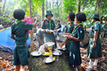 Thai scouts chumphon thailand february boy of muanglangsuan school camping activities trip of the year on february in chumphon Stock Photos